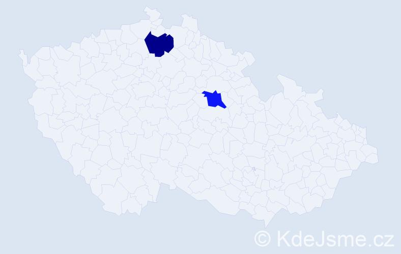 Příjmení: 'Lahůlek', počet výskytů 4 v celé ČR
