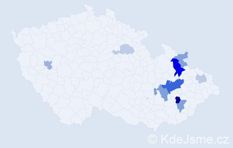 Příjmení: 'Koldas', počet výskytů 21 v celé ČR
