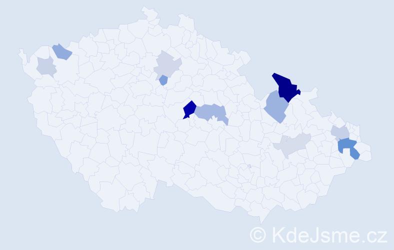 Příjmení: 'Hromják', počet výskytů 29 v celé ČR