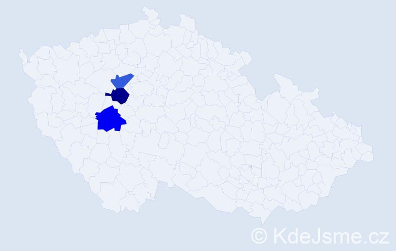 Příjmení: 'Jádyová', počet výskytů 3 v celé ČR