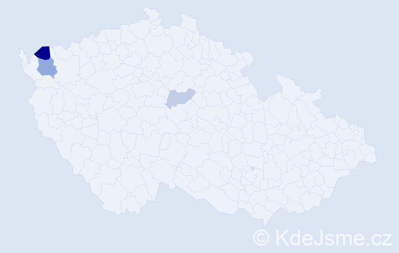 Příjmení: 'Klimčuk', počet výskytů 5 v celé ČR