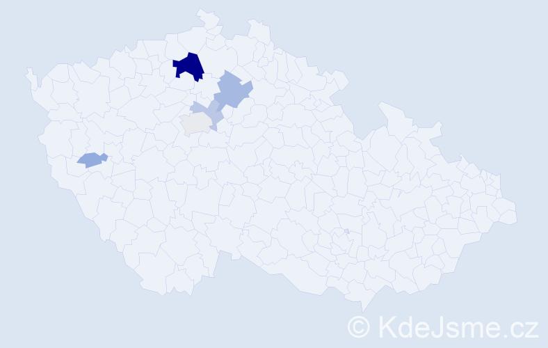 Příjmení: 'Círus', počet výskytů 23 v celé ČR