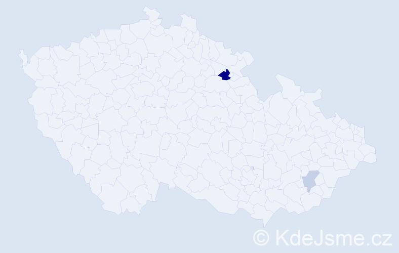 Příjmení: 'Hardubej', počet výskytů 11 v celé ČR