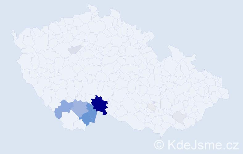 Příjmení: 'Kocar', počet výskytů 44 v celé ČR