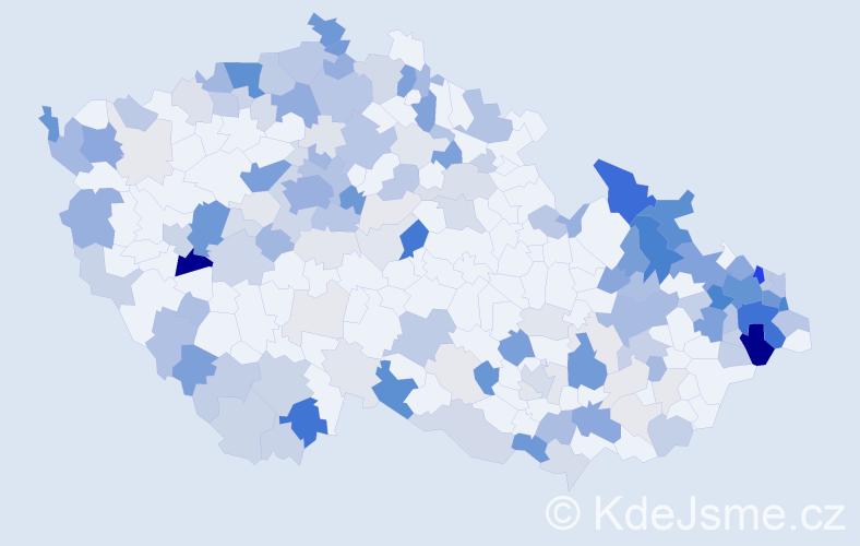 Příjmení: 'Zajac', počet výskytů 626 v celé ČR