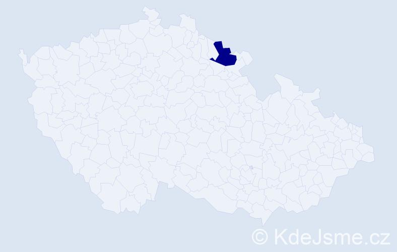 """Příjmení: '""""Kadeřábková Povolná""""', počet výskytů 1 v celé ČR"""