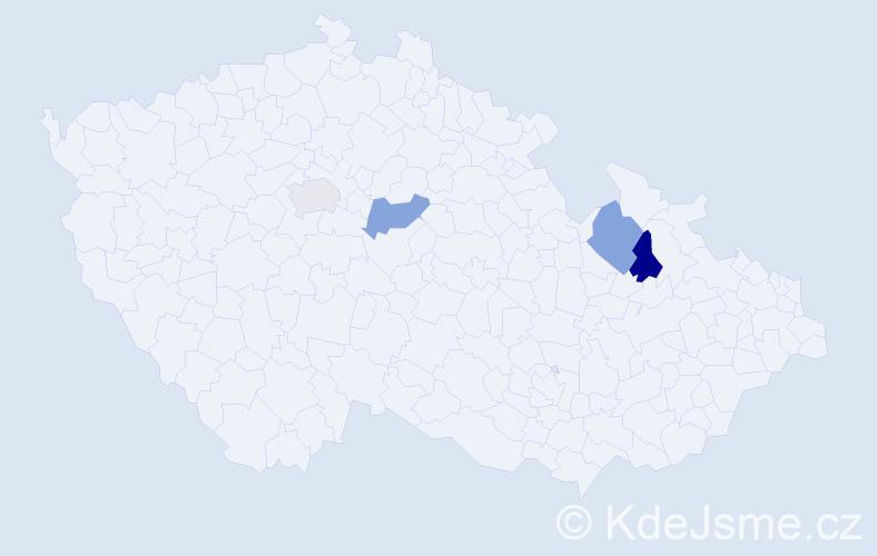 Příjmení: 'Gelný', počet výskytů 4 v celé ČR