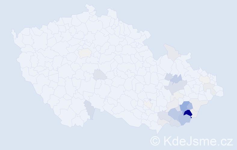 Příjmení: 'Máčala', počet výskytů 166 v celé ČR