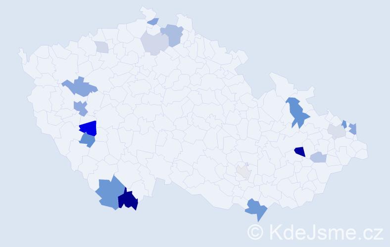 Příjmení: 'Ďuráková', počet výskytů 41 v celé ČR