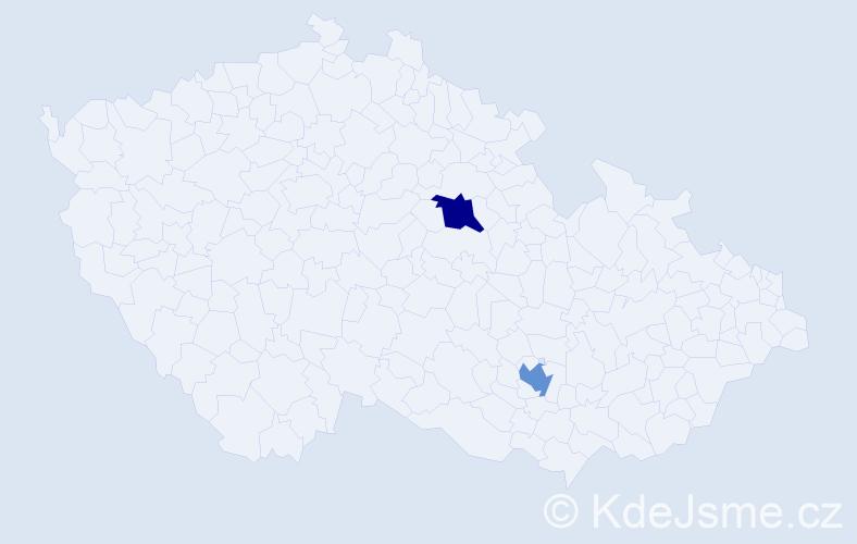 Příjmení: 'Kupčihová', počet výskytů 4 v celé ČR