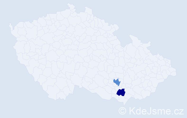 Příjmení: 'Čanderle', počet výskytů 4 v celé ČR