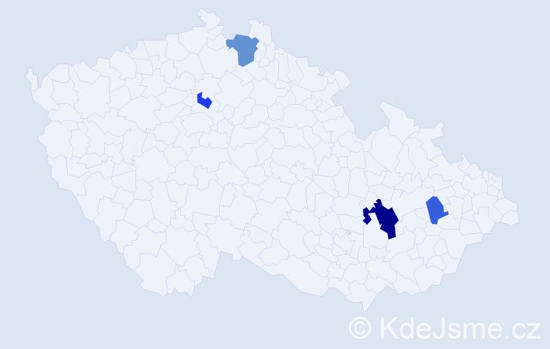 Příjmení: 'Kirnerová', počet výskytů 8 v celé ČR