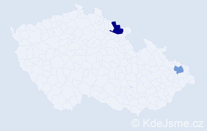 Příjmení: 'Janický', počet výskytů 6 v celé ČR