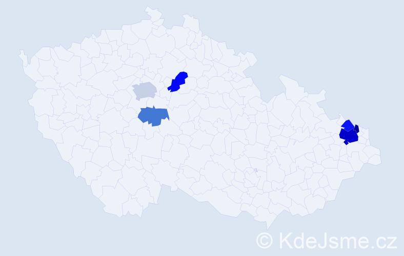 Příjmení: 'Hadrychová', počet výskytů 12 v celé ČR