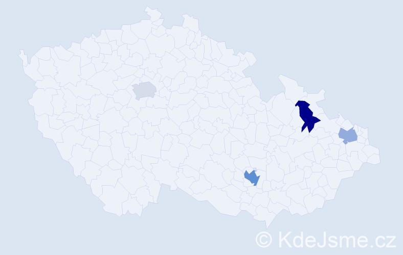 Příjmení: 'Kubacki', počet výskytů 11 v celé ČR