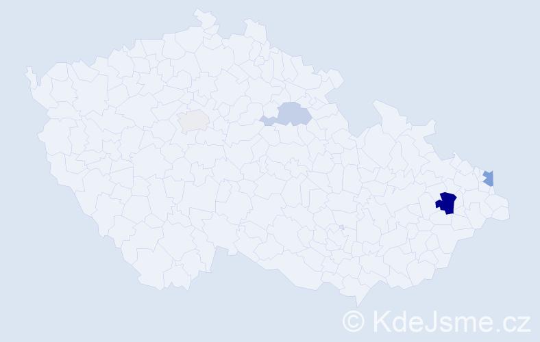 Příjmení: 'Dendišová', počet výskytů 9 v celé ČR