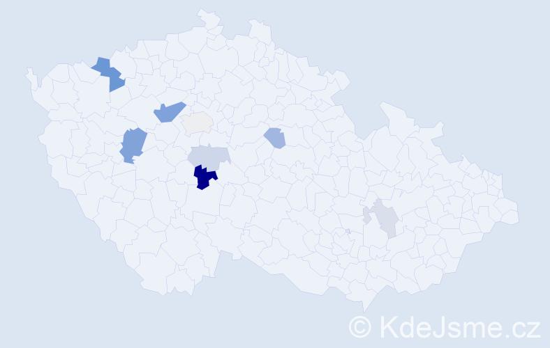 Příjmení: 'Cipl', počet výskytů 20 v celé ČR