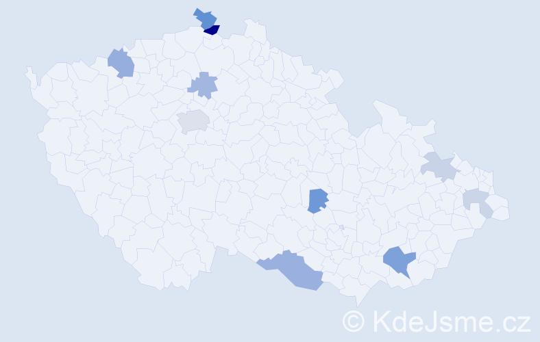 Příjmení: 'Kucerová', počet výskytů 20 v celé ČR