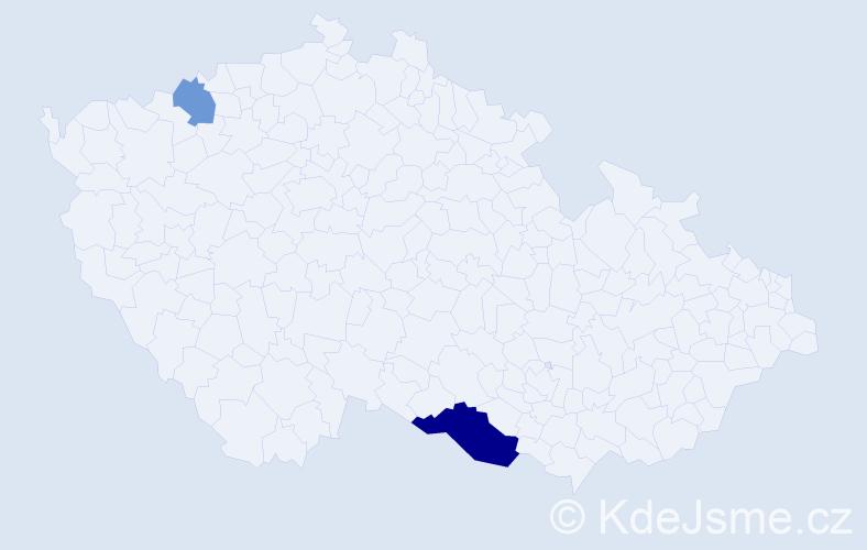 Příjmení: 'Jačianský', počet výskytů 4 v celé ČR