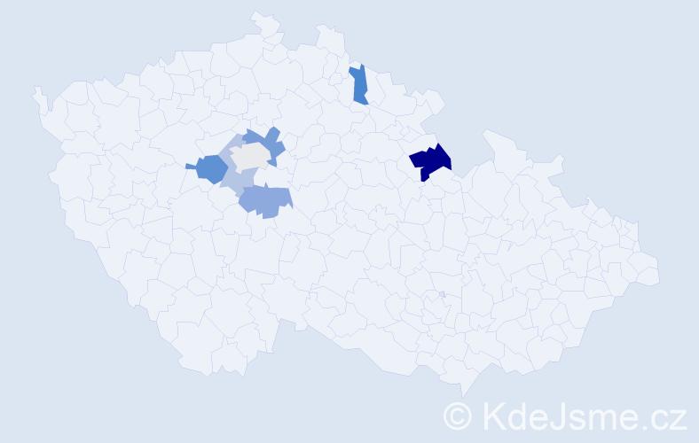 Příjmení: 'Gagalíková', počet výskytů 11 v celé ČR