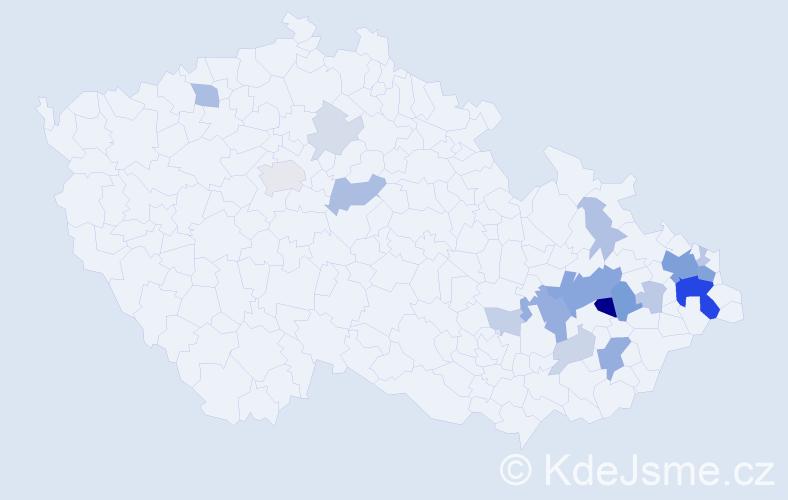 Příjmení: 'Cielecký', počet výskytů 55 v celé ČR