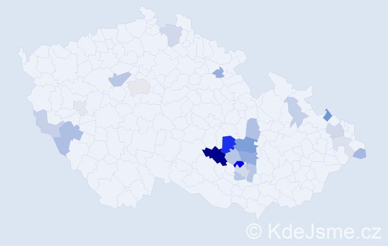 Příjmení: 'Jízdný', počet výskytů 57 v celé ČR