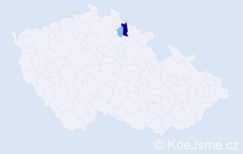 Příjmení: 'Ďoubová', počet výskytů 6 v celé ČR