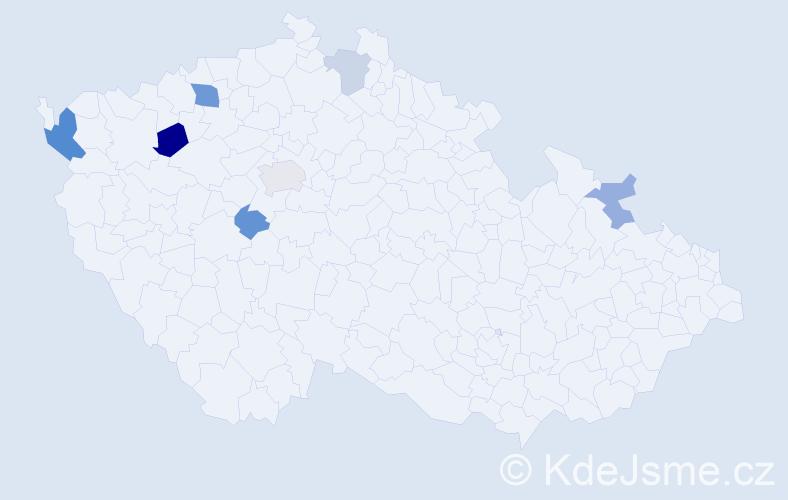 Příjmení: 'Ambra', počet výskytů 13 v celé ČR