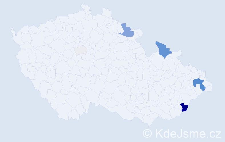 Příjmení: 'Hochla', počet výskytů 13 v celé ČR