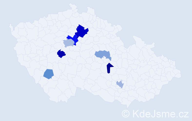 Příjmení: 'Kyšperský', počet výskytů 18 v celé ČR