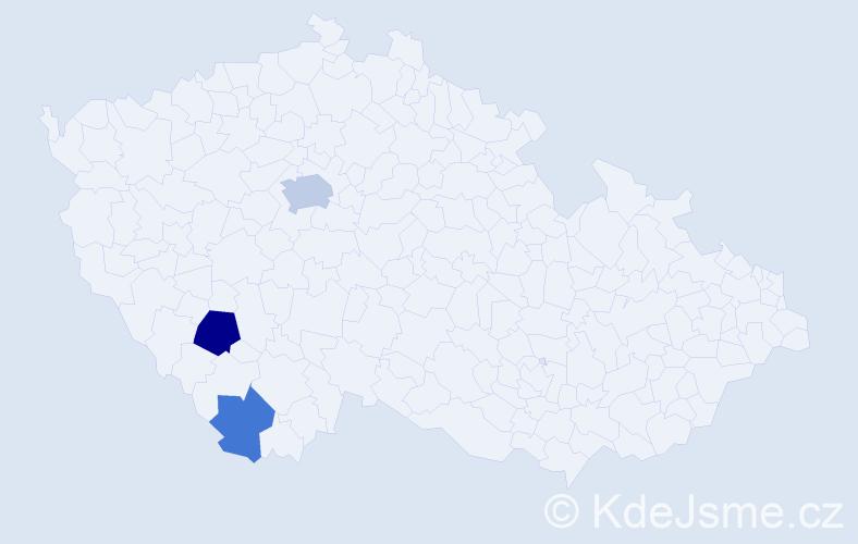 Příjmení: 'Kebhart', počet výskytů 6 v celé ČR