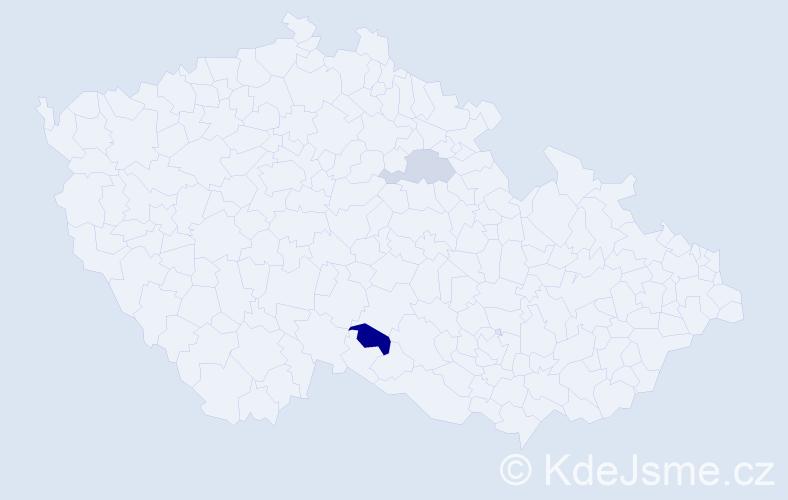 Příjmení: 'Cucla', počet výskytů 3 v celé ČR