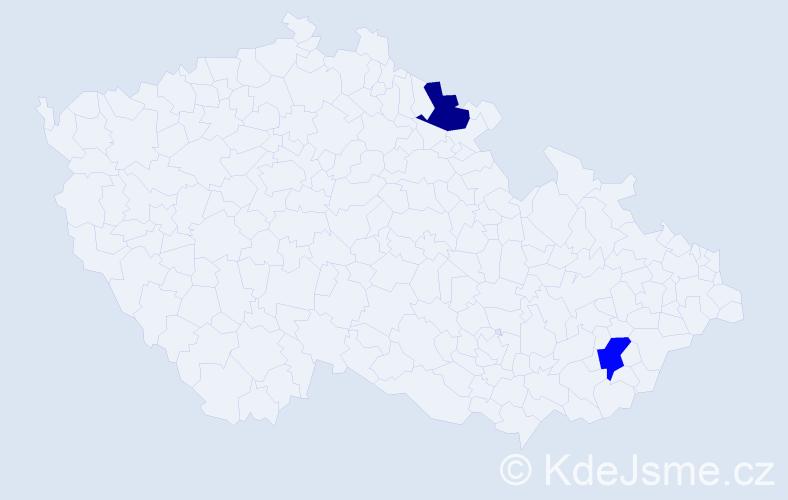 Příjmení: 'Lebóová', počet výskytů 2 v celé ČR