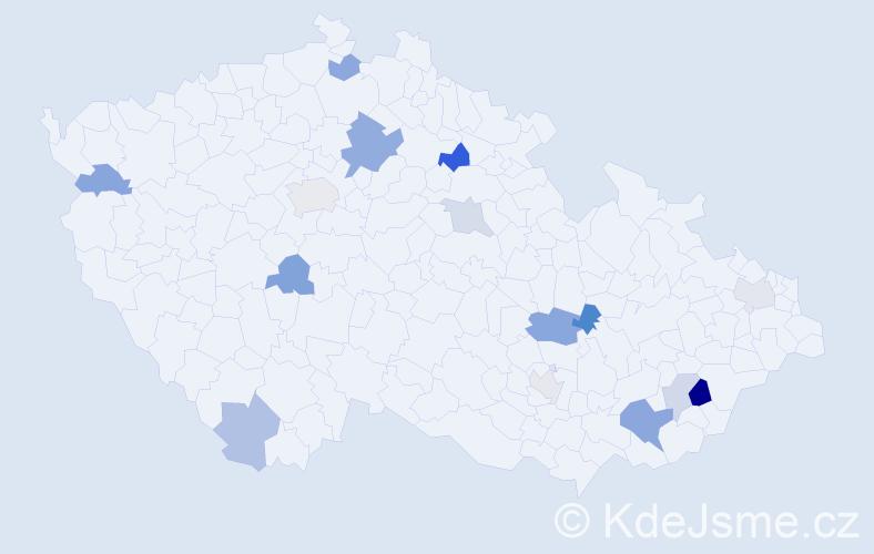 Příjmení: 'Ebner', počet výskytů 25 v celé ČR