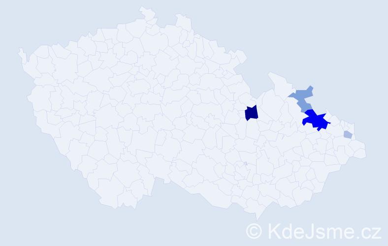 Příjmení: 'Čajnáková', počet výskytů 10 v celé ČR