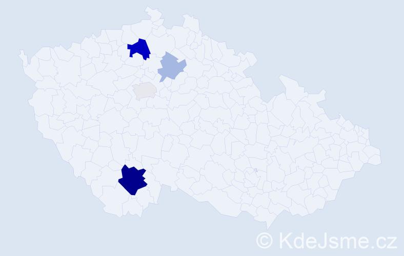 Příjmení: 'Chyňavová', počet výskytů 14 v celé ČR