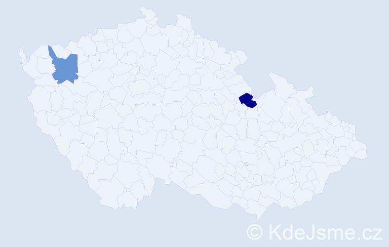 Příjmení: 'Kališíková', počet výskytů 2 v celé ČR