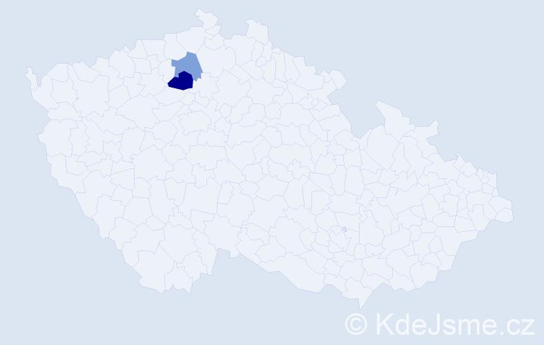 Příjmení: 'Haenselová', počet výskytů 6 v celé ČR