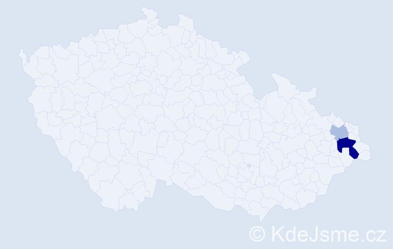 Příjmení: 'Kapala', počet výskytů 4 v celé ČR