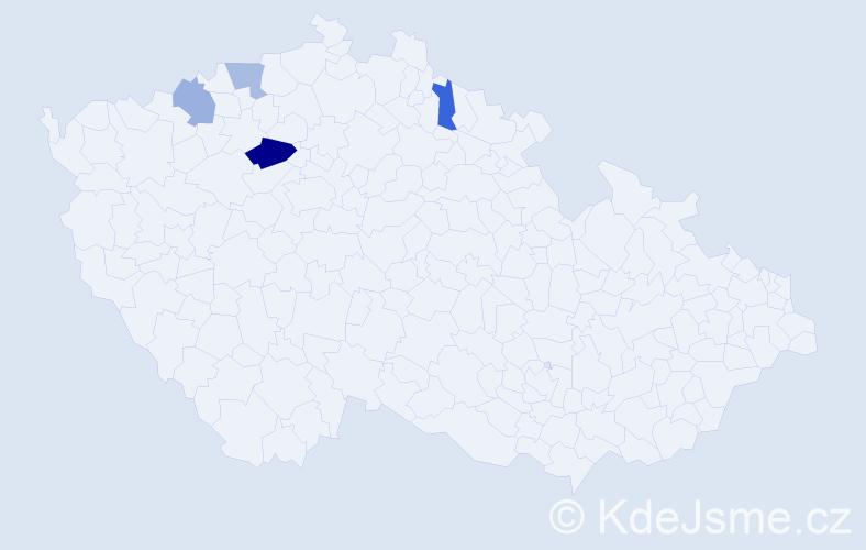 Příjmení: 'Kaučová', počet výskytů 6 v celé ČR