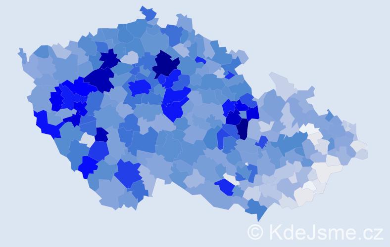 Příjmení: 'Beneš', počet výskytů 9431 v celé ČR