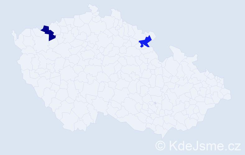 Příjmení: 'Čedrik', počet výskytů 2 v celé ČR