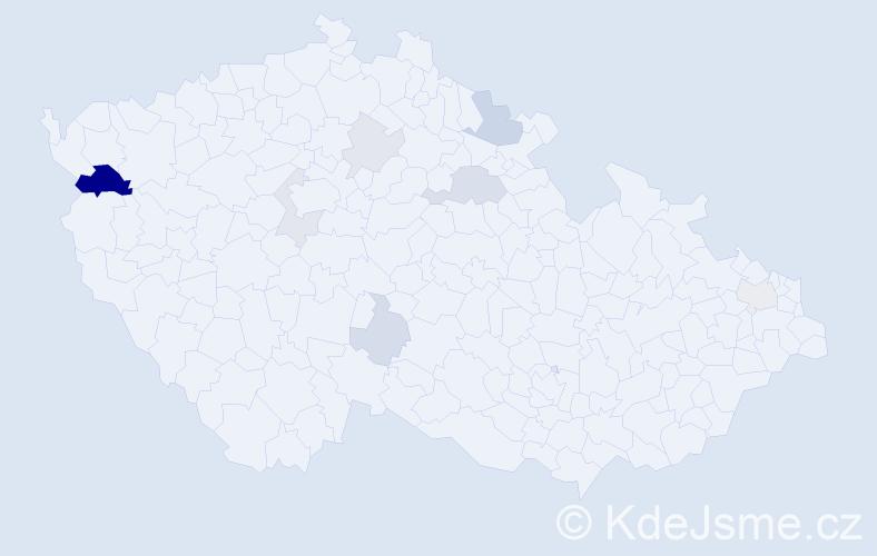 Příjmení: 'Hančinová', počet výskytů 18 v celé ČR