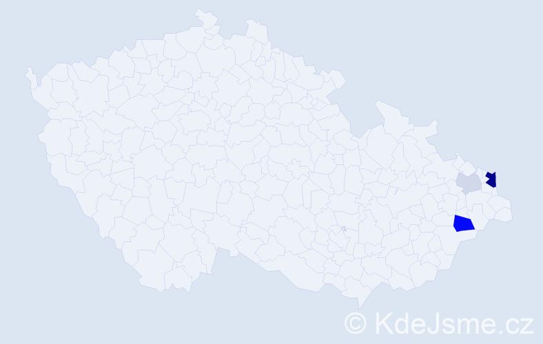Příjmení: 'Cichovský', počet výskytů 8 v celé ČR