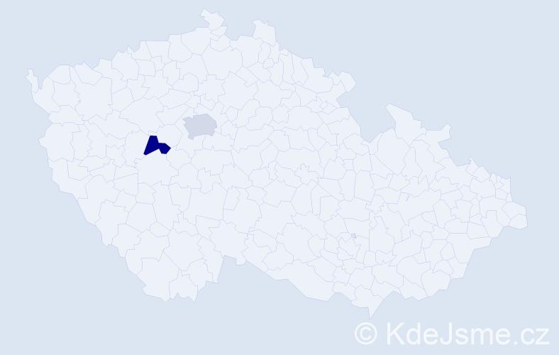 Příjmení: 'Kaháček', počet výskytů 5 v celé ČR
