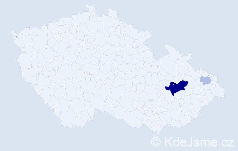Příjmení: 'Armstein', počet výskytů 5 v celé ČR