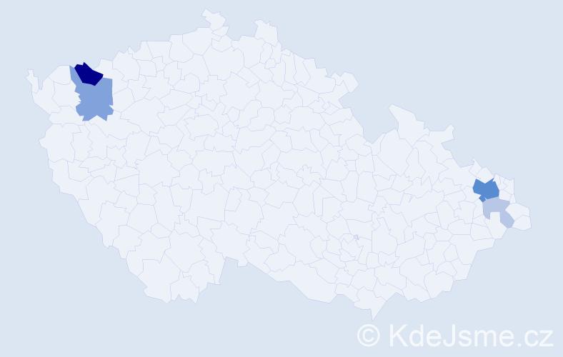Příjmení: 'Kadrliaková', počet výskytů 15 v celé ČR