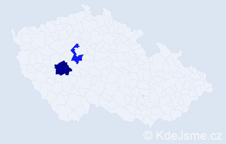 Příjmení: 'Fekoňová', počet výskytů 4 v celé ČR
