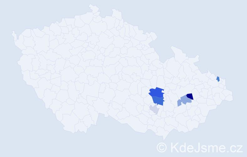 Příjmení: 'Klűglová', počet výskytů 8 v celé ČR