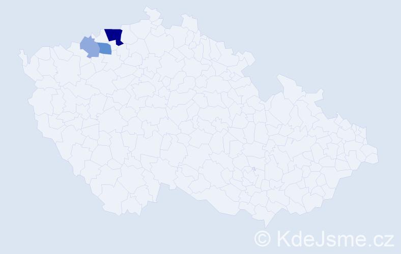 Příjmení: 'Bachovská', počet výskytů 9 v celé ČR